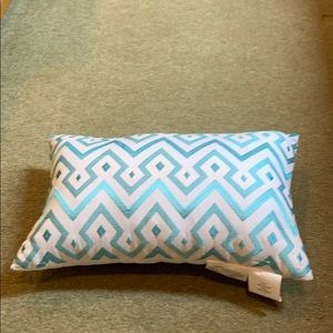 Other - Rectangular pillow, white with teal embroidery.